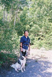 7/7/05 Gil & Hana taking respite in the shade. McGee Creek Trail, McGee Canyon