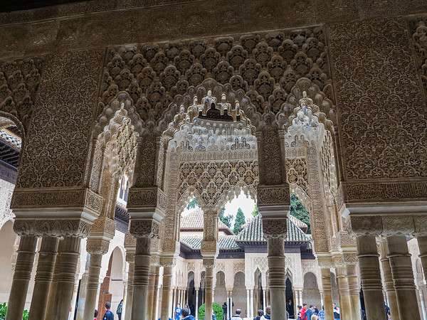Persian influences in this Islamic art.  These canopies depict the Islamic image of paradise.