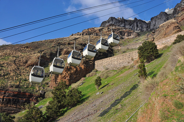 The cable cars, going up. Santorini, Greece
