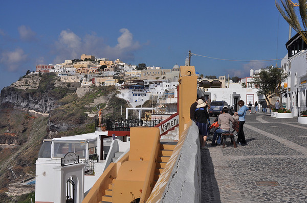 I walked almost to the top of the hill in the distance, climbing stairs and traversing narrow walkways. Santorini, Greece