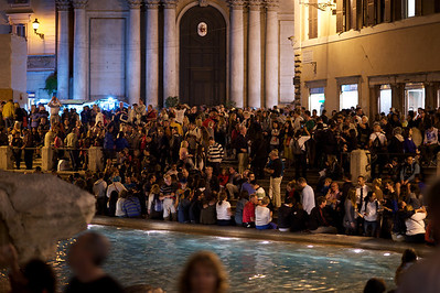 Trevi... where's the fountain?  Throngs of tourists