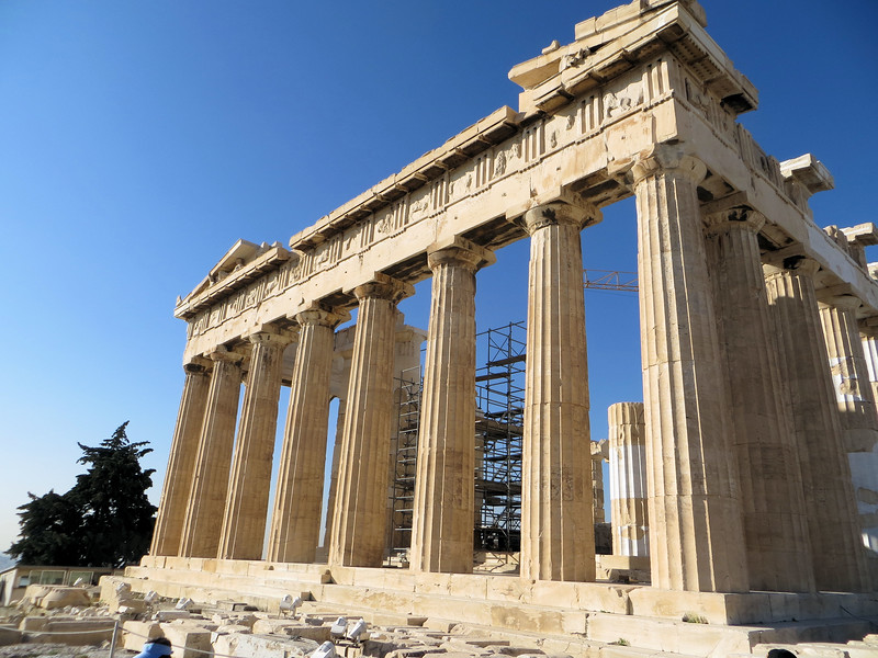 The Parthenon was built from 447-438 B.C.  It is the finest temple in the ancient world.  It was dedicated to the cult of Virgin Athena (parthenos means unmarried girl or virgin).  It also served as the city treasury, which was not uncommon for temples in the ancient world.