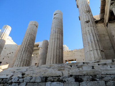 Now there are stairs up to the entrance, but in ancient Greek times there was a ramp that went up the middle, making it easier to bring sacrificial animals into the Acropolis.