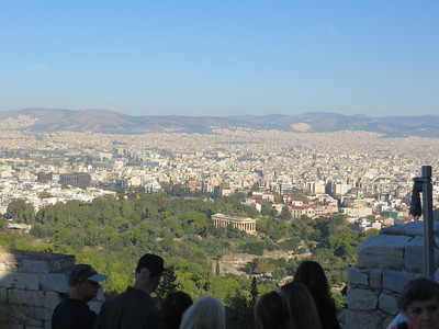 Stopping on the way up for a view over the city.  The temple you can see down below is the Temple of Hephaestus, the ancient god of metal working and fire.