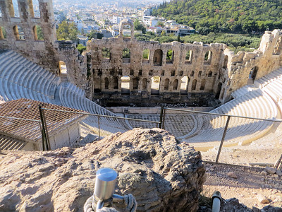 On your way upward you can stop for a moment and see the Odeon of Herodes Atticus.  An odeon was used mainly for musical performances.  Unlike amphitheaters, it would have had a roof.  This one seats 5,000 people and, according to our guide, is still used for performances sometimes.