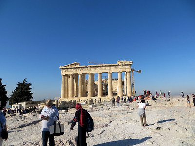 This is not the view of the Parthenon that you see when you first pass through the entrance gate.  You come in at the west end (see later photos).  This is the east end, which is the most beautiful view, I think.
