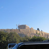 "The view of the Acropolis from the parking lot.  If you want to go ""up the hill"" (as our guide put it), there is only one way--you have to walk.  Luckily the path is gradual and the climb is not too difficult."