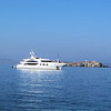 A private yacht anchored in the harbor.  I looked it up when I got home.  It is the Andreas L and you can rent it during the season.  Rents start at $416,000 for a week.