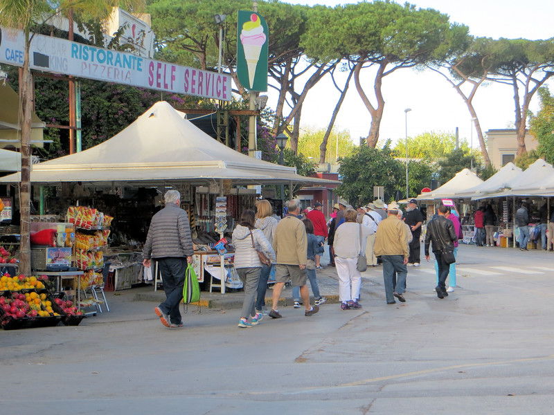 The area around the entrance to Pompeii is filled with eateries, souvenir stands, and the like.