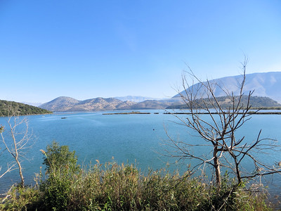 Butrint is on a peninsula.  To one side is the Ionian Sea and to the other is Lake Butrint.  This is a view of the lake from the hill .