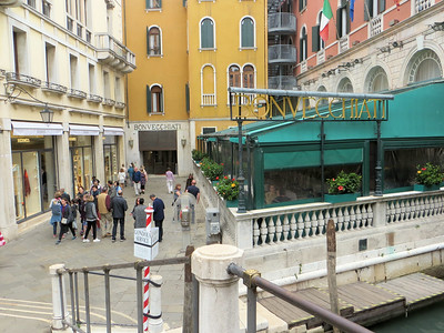 "The  ""back door"" of our hotel, the Hotel Bonvecchiati.  We learned that everyone else who was traveling in our group was brought by water taxi to this spot, from whence you can walk right into the hotel.  Karen and I were dropped off at a pier some distance away and ended up dragging our suitcases around in the dark for an hour, looking for the hotel."