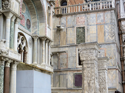 An interesting wall of different colors and textures of marble, between the Doge's Palace and St. Mark's.