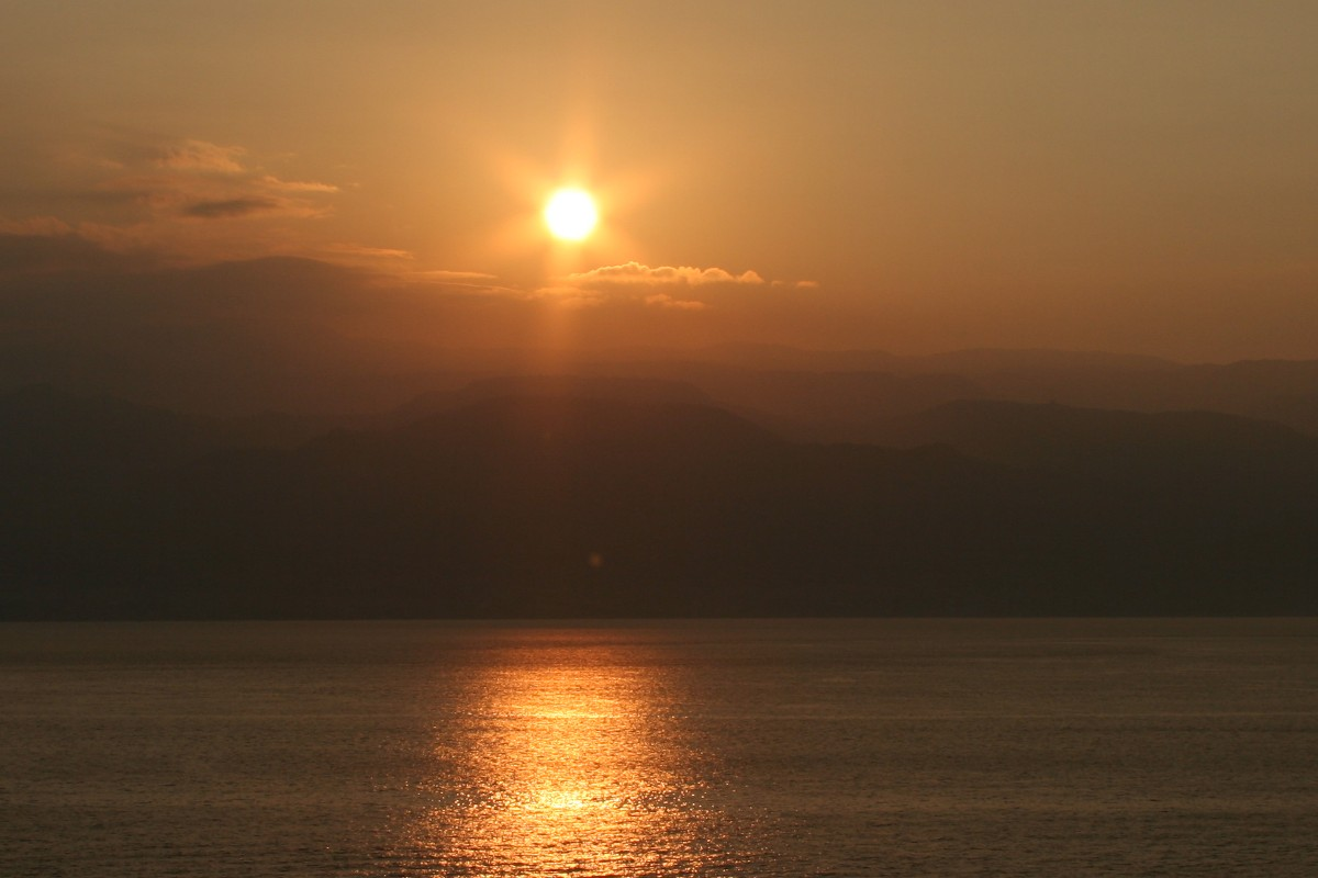 The sun RISING in our next stop - Dubrovnik, Croatia.