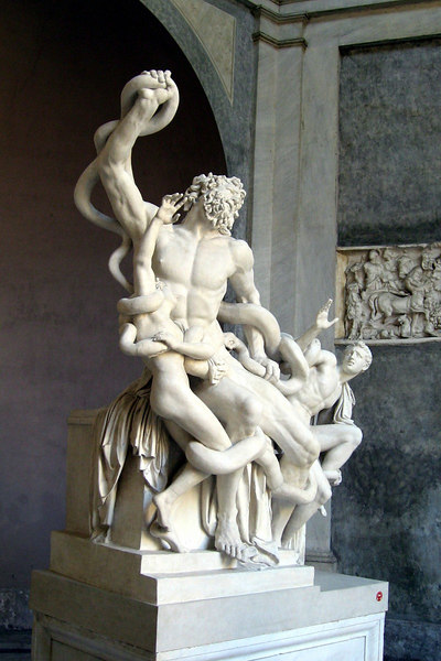 """""""Laocoön"""" (Early 1st Century) With both his hands he labors at the knots; His holy fillets the blue venom blots; His roaring fills the flitting air around. Thus, when an ox receives a glancing wound, He breaks his bands, the fatal altar flies, And with loud bellowings breaks the yielding skies."""