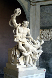 """Laocoön"" (Early 1st Century) With both his hands he labors at the knots; His holy fillets the blue venom blots; His roaring fills the flitting air around. Thus, when an ox receives a glancing wound, He breaks his bands, the fatal altar flies, And with loud bellowings breaks the yielding skies."