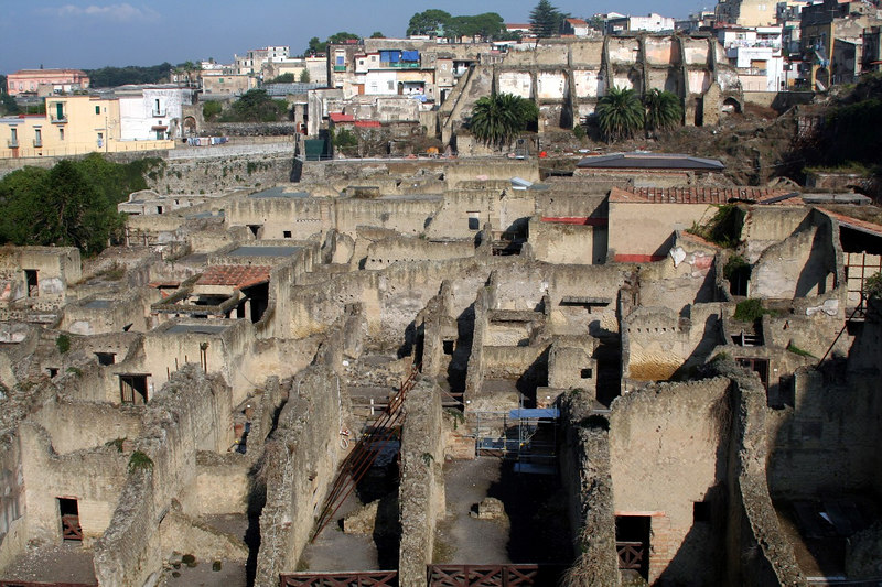 Overhead shot of Herculaneum.  In the background you can see the edge of modern civilization that was once built on top of these ruins.