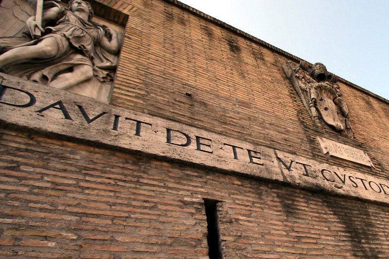 """Some decor outside the walls of the Vatican.  Anybody read Latin?  Please feel free to click on """"add comment"""" and translate if you do."""