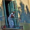 Woman on balcony, Barcelona