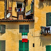 Italian flag and laundry, Lucca, Italy
