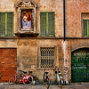 Madonna and Child and bikes, Lucca, Italy