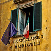Two flags, Lucca, Italy