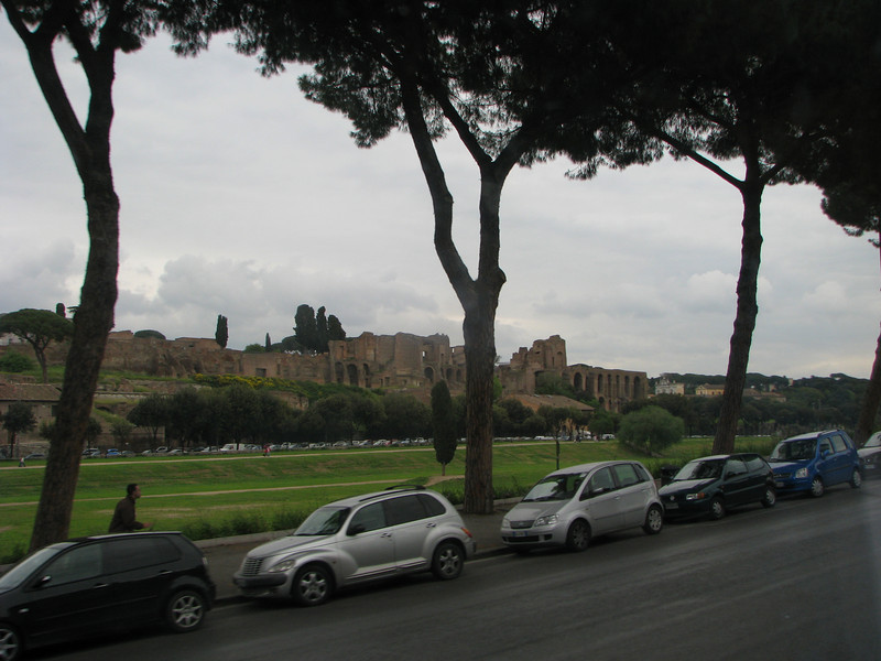 Circus Maximus with ruins of a Roman Imperial palace behind