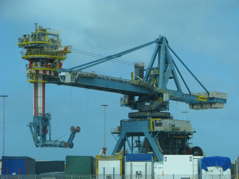 Huge contraption at the port in Civitavecchia, Italy