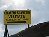 Sign at Slvestr Crater on Mount Etna, Sicily