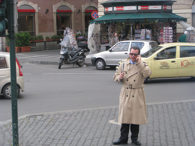 Italian man talking on his cell phone in Rome