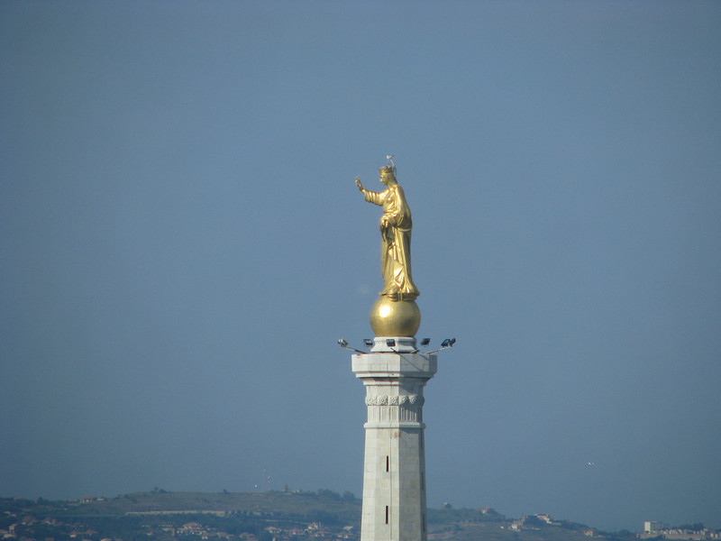 Statue that blesses the harbor in Messina, Sicily