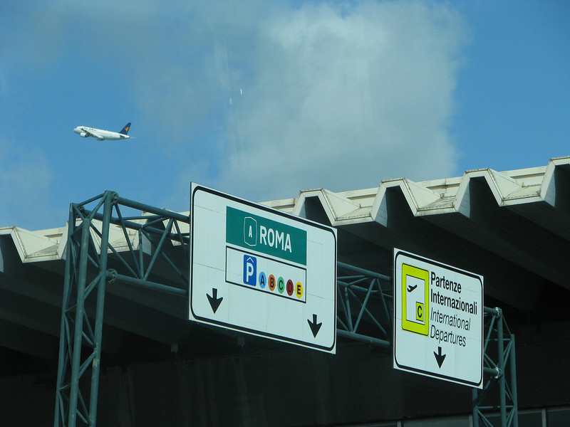 Signs at Fiumicino airport in Rome