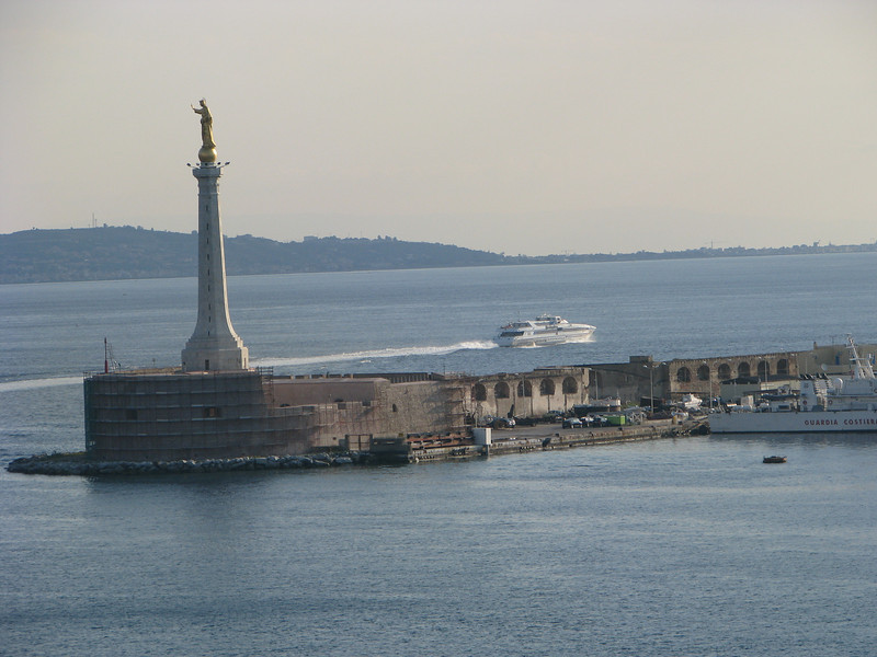 Statue blessing the harbor in Messina, Sicily