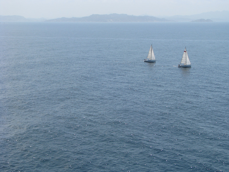 Sailboats in the Straits of Bonifacio between Corsica and Sardinia