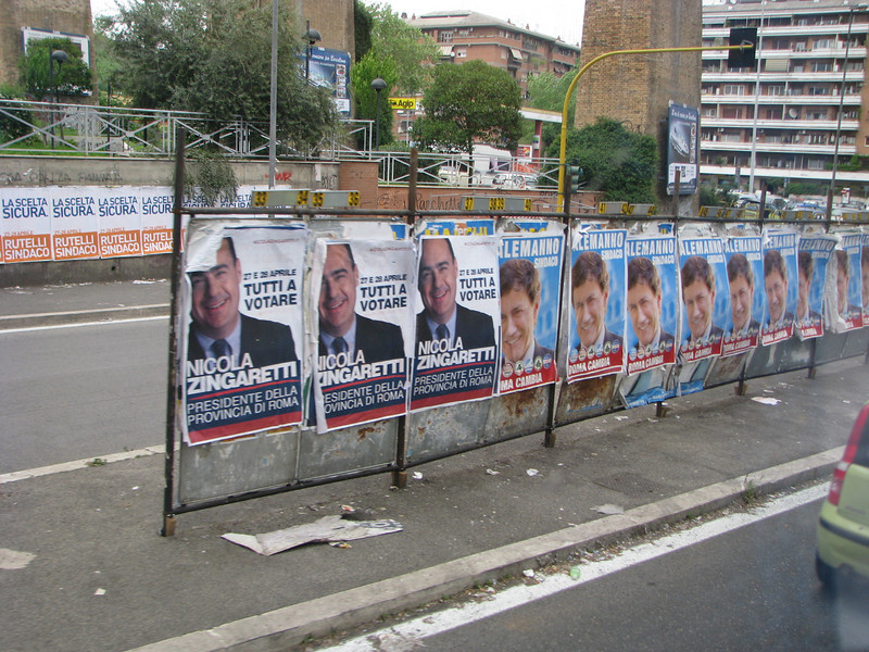 Political posters in Rome, Italy