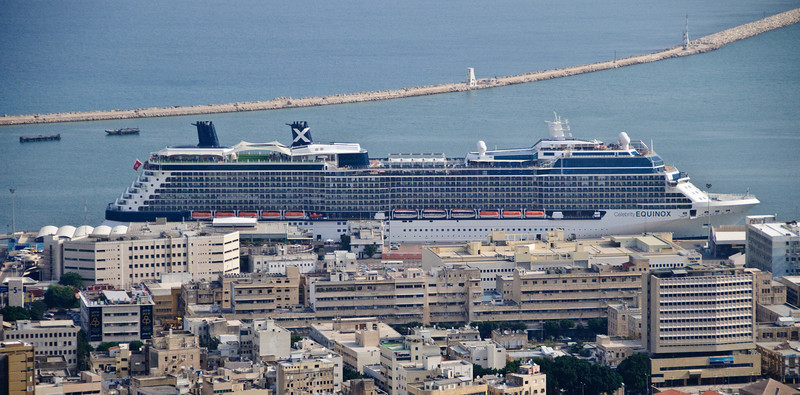 View of our ship from near the top of Mount Carmel