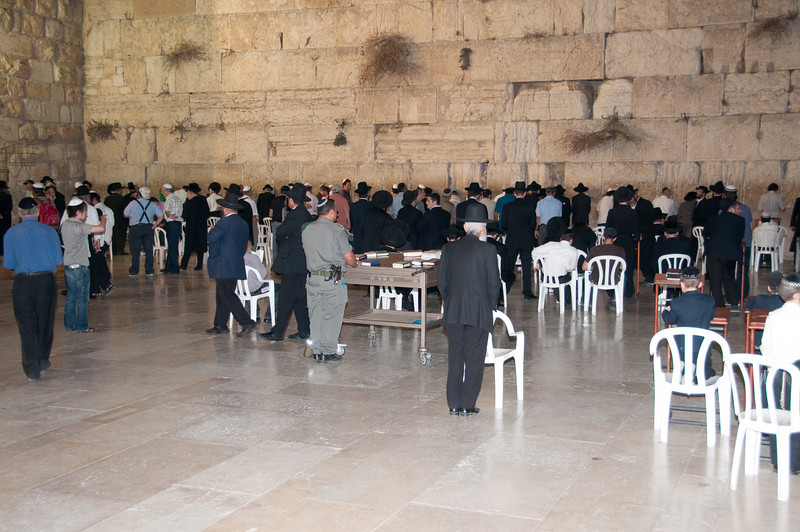 Men's side of the Wailing Wall which is larger than the women's side