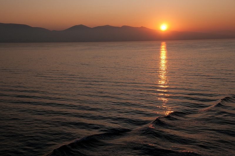 Sunrise when we are on our way to Piraeus Port in Greece