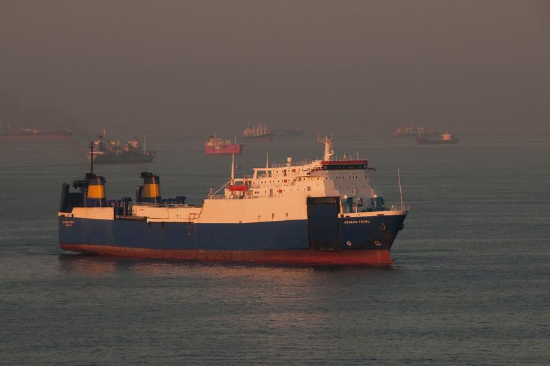 A boat heading towards the Piraeus Port