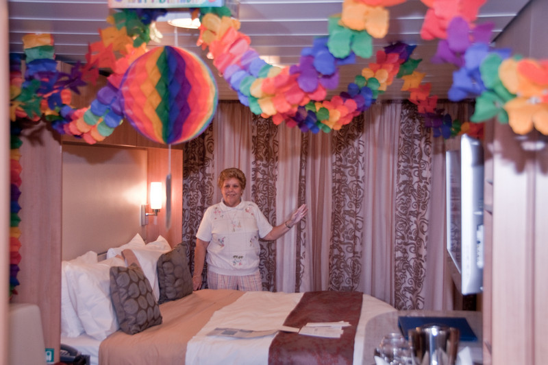 Our stateroom with Sandy's birthday decorations - It was her Medicare birthday