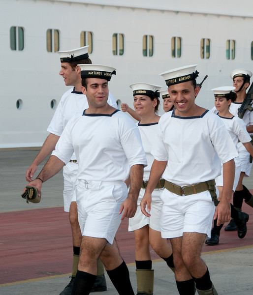 Greek Sailors marching around our ship