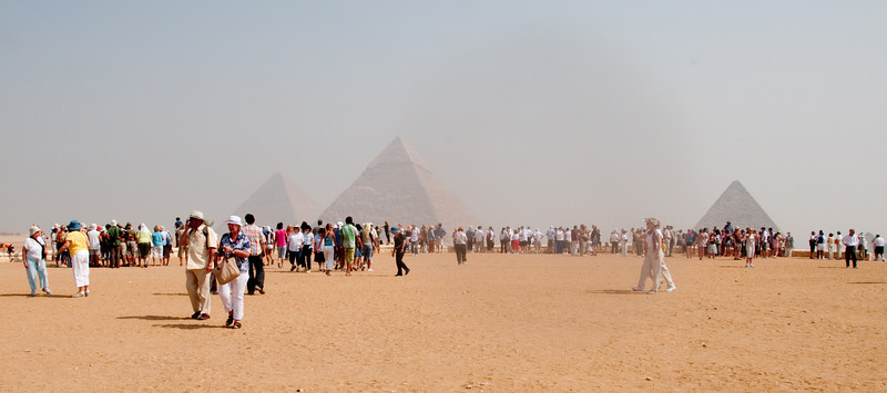 People touring around the Pyramid area