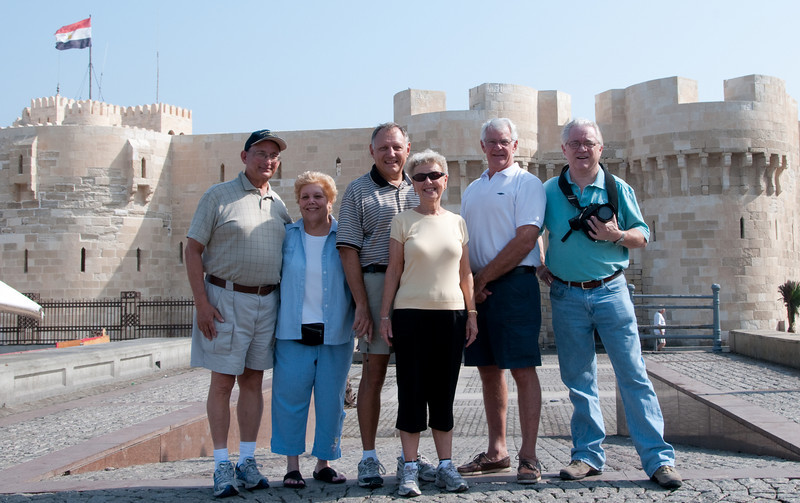 Arnold, Sandy, Tom, Judy, David, and John Prieth in front of Fort Qaitbey
