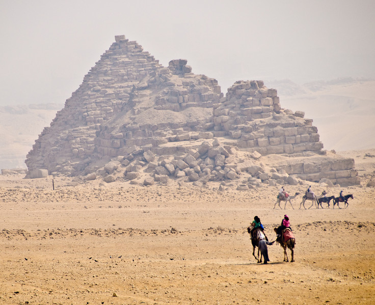 View of the Pyramids from the bus - It was very misty and hot the day were were there