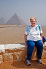 Sandy sitting in front of the Pyramids