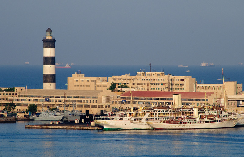 View of Alexandria Port lighthouse from the Equinox ship