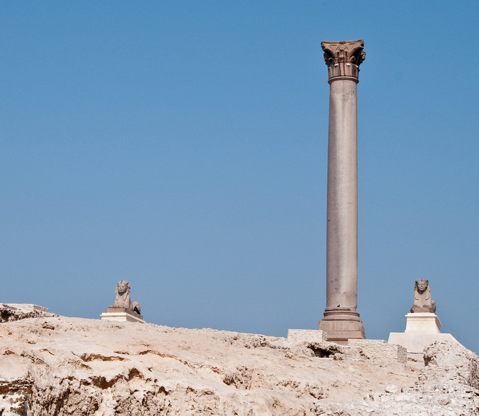 Pompey's Pillar and a pink granite sphinx