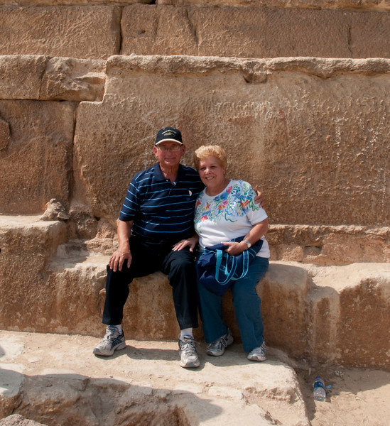Arnold and Sandy getting our picture at the Pyramids