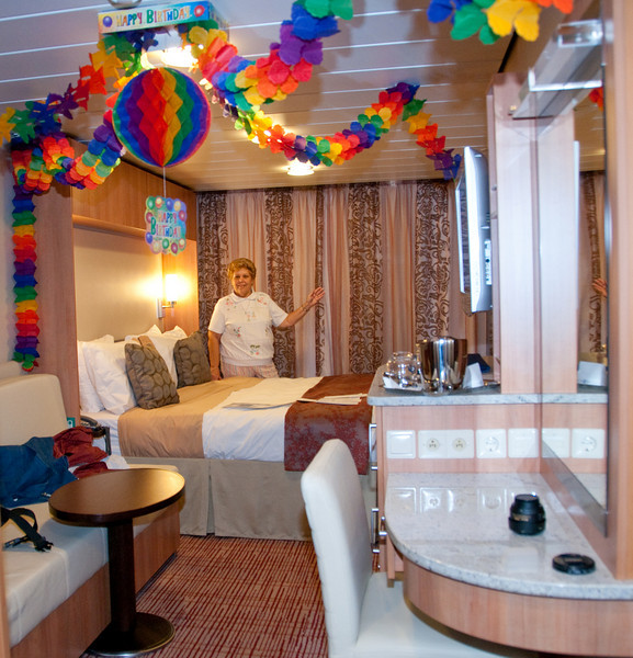 Our stateroom on the Equinox when we came aboard because it was Sandy's Medicare birthday