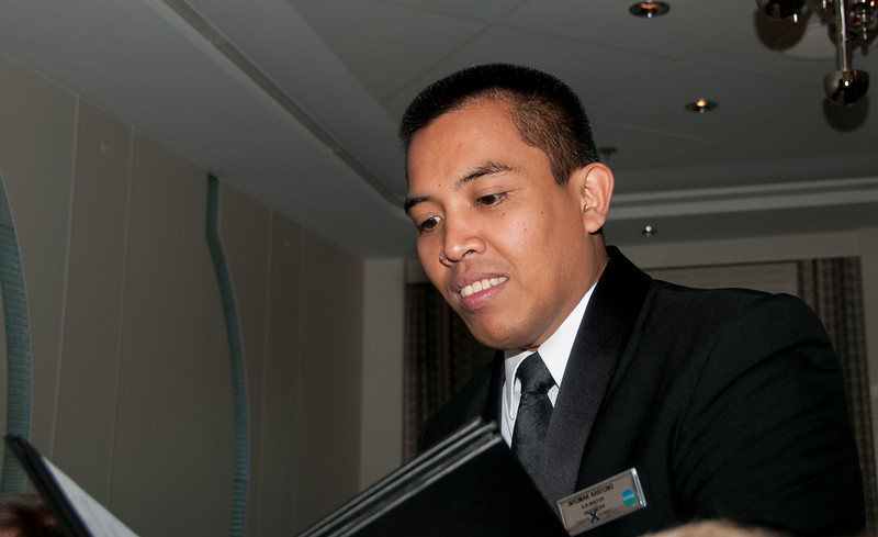 Our server at the Silhouette Dining Room - Inyoman Kartono