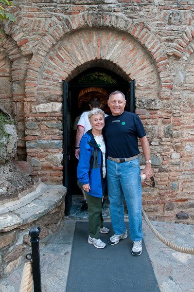 Judy and Tom Sanders in front of the Virgin Mary's house